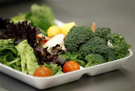 Some of more than 8,000lbs of locally grown broccoli from a partnership between Farm to School and Healthy School Meals is served in a salad