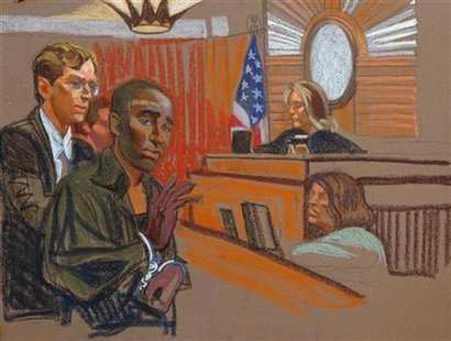 Defendant Payen stands with prosecutor Snyder in this courtroom sketch of his arraignment in New York