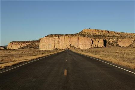 "New Mexico Highway 117 is pictured near the ""El Malpais"" National Monument near Grants, New Mexico"