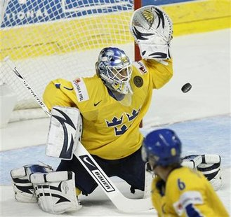 Sweden's goalie Liv makes save during the first period of action against France at 2008 IIHF World Hockey Championships in Quebec City