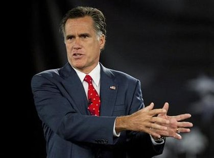 U.S. Republican presidential candidate and former Massachusetts Governor Mitt Romney speaks during the American Principles Project Palmetto