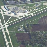 Aerial view of Austin Straubel Airport in Green Bay, WI