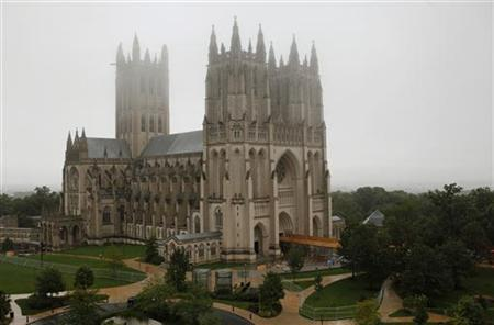 The National Cathedral is seen after a crane collapsed from the building in Washington