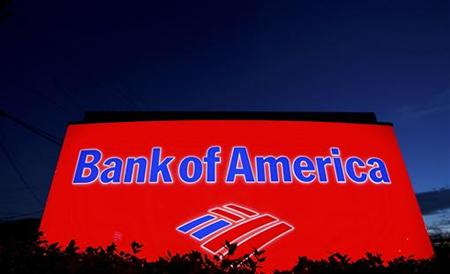 A Bank of America sign is pictured outside a bank branch in Charlotte