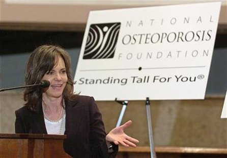 Academy Award winning actress Sally Field makes remarks at a Capitol Hill briefing on her fight against osteoporosis in Washington