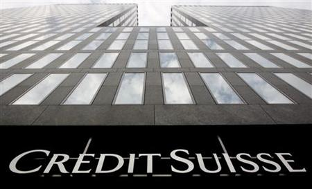 A logo is seen on a Credit Suisse building in Zurich