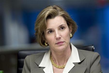 Sallie Krawcheck, president of Global Wealth & Investment Management for Bank of America, listens during an interview in New York