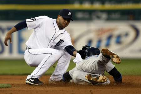 Detroit Tigers second baseman Ramon Santiago .  Santiago hit a two-run home run in the 4th inning of the Tigers' game vs. Minnesota on Friday, September 9, 2011.  REUTERS