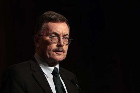 European Central Bank (ECB) policymaker Juergen Stark speaks during a dinner function at a hotel in Hong Kong