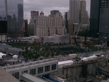 The view overlooking the new 9/11 memorial at the site of the former World Trade Center towers in New York City.