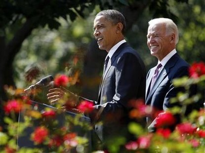 U.S. President Obama and Vice President Biden in the Rose Garden of the White House in Washington