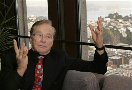 Venture capitalist Tom Perkins, founding partner of Kleiner Perkins Caufield and Byers, makes a point during an interview at his office in S