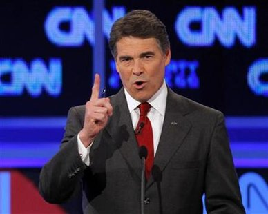 Perry speaks during the CNN/Tea Party Republican presidential candidates debate in Tampa