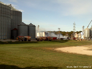 Crews work to control a fire at the Adell Co-op in Sheboygan County, Sept. 14, 2011. (courtesy of FOX 11).