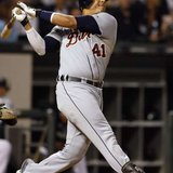 Detroit Tigers designated hitter Victor Martinez watches his three-run home run against the Chicago White Sox during the sixth inning of their game on September 13, 2011. REUTERS
