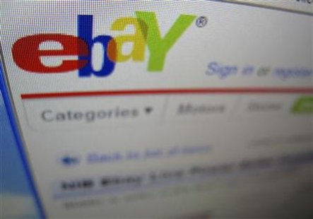 A photograph of a computer screen showing the website eBay is shown here in Encinitas, California