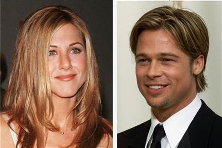 Brad Pitt and Jennifer Aniston in file photos.
