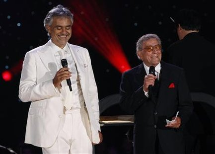 Italian tenor Bocelli performs with Tony Bennett and the New York Philharmonic Orchestra in New York