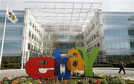 A pedestrian walks at the headquarters of eBay in San Jose