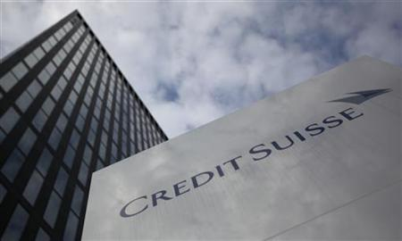 A logo is seen in front of a Credit Suisse building in Zurich