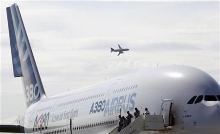 Visitors leave an Airbus A-380 plane on display during the MAKS International Aviation and Space Salon at Zhukovsky airport in Moscow