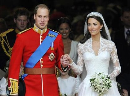 Britain's Prince William and wife leave Westminster Abbey, in central London