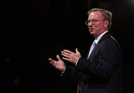 Google Chairman Schmidt gestures during a rehearsal of his MacTaggart lecture speech for the Edinburgh International Television Festival in