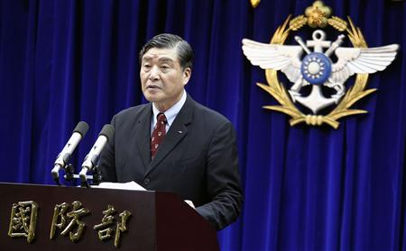 Taiwan's Minister of National Defense Kao Hua-chu holds a news conference in Taipei