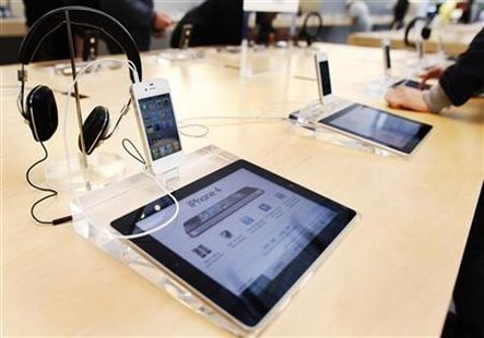 A dedicated iPad station is seen in front of an iPhone at the Apple store in New York
