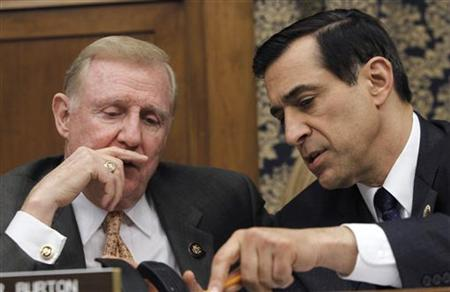 Rep. Dan Burton (R-IN) (L) and Rep. Darrell Issa (R-CA) are seen on Capitol Hill in Washington, February 24, 2010. REUTERS/Jason Reed