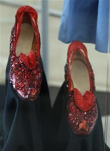Judy Garland's ruby slippers from the The Wizard of Oz are pictured at a preview of actress Debbie Reynold's vast Hollywood costume and prop