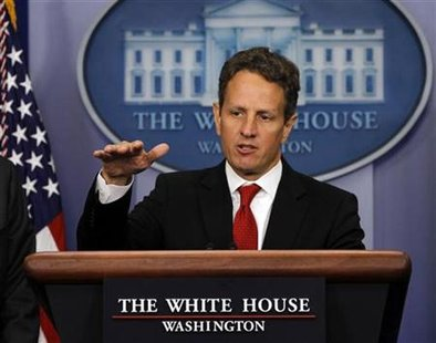 Geithner speaks to the press about deficit reduction in Washington