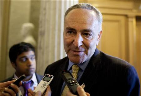 Senator Schumer speaks to the media before voting on a bill allowing a rise in the debt ceiling on Capitol Hill