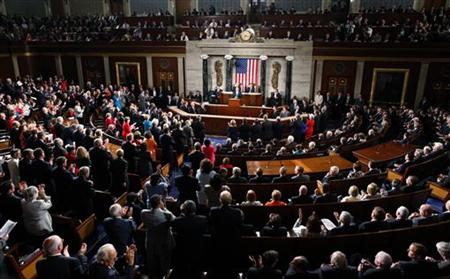 President Obama receives a standing ovation as he addresses a Joint Session of Congress on Capitol Hill in Washington