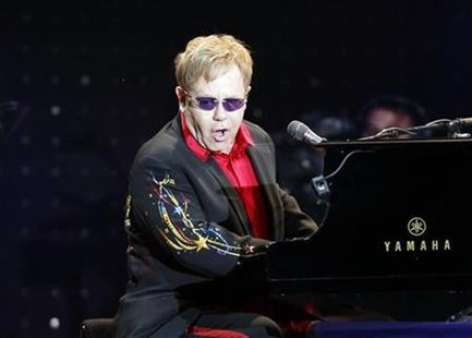 British singer Elton John performs during his concert in Istanbul