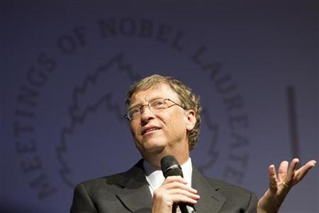 Billionaire philanthropist Bill Gates attends a podium discussion at the 61st Lindau Nobel Laureate Meetings in Lindau