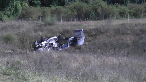 A photo of the small plane crash near Plainwell.  Photo courtesy of Sean Patrick.