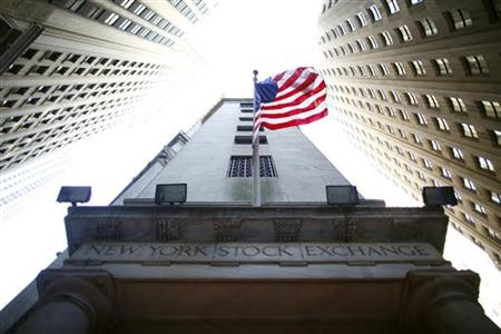 A flag flutters outside New York Stock Exchange
