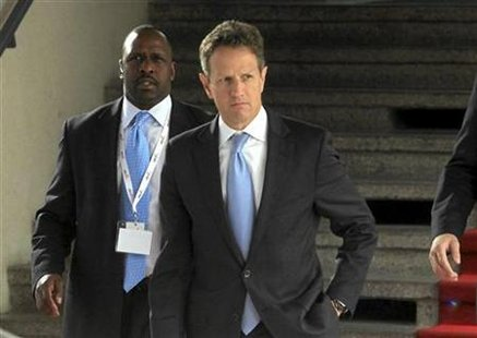 U.S. Secretary of the Treasury Geithner leaves after talks with Polish Finance Minister Rostowski in Wroclaw