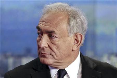 Strauss-Kahn, former International Monetary Fondation chief (IMF), appears on TF1 prime time news programme in their studios near Paris