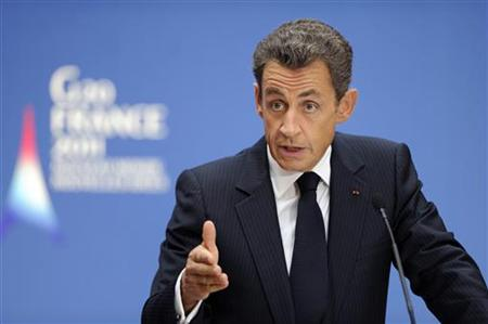 France's President Sarkozy delivers his speech to the Group of 20 Labour Ministers reunion at the Elysee Palace in Paris