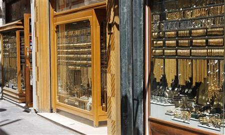 Gold is displayed at jewellery shops in Amman