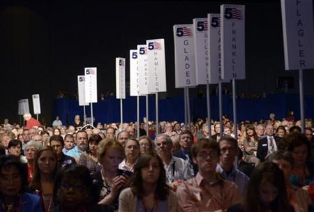 Delegates listen to presidential candidates during Republican Party of Florida Presidency 5 Convention in Orlando