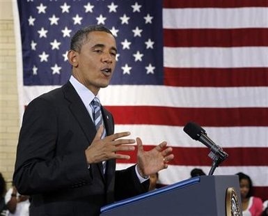 President Barack Obama speaks at a school in Washington