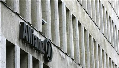 The Allianz logo is pictured on a main office building of Germany's largest insurance group Allianz AG in Cologne