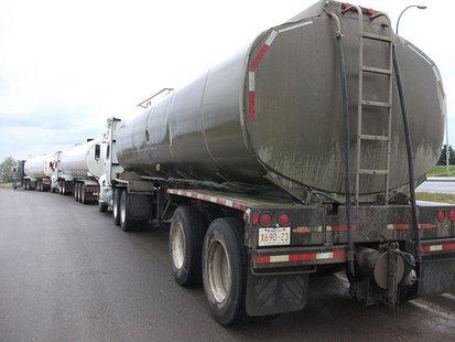 Trucks hauling