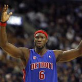 Detroit Pistons forward Ben Wallace reacts to a foul call during their NBA basketball game in Toronto