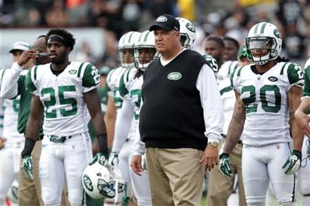 New York Jets head coach Rex Ryan watches his team play the Oakland Raiders in Oakland
