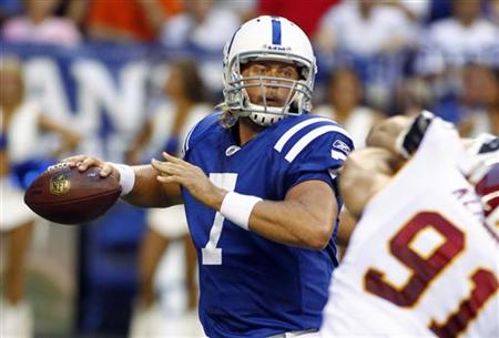 The Colts' Curtis Painter looks to pass the football during a preseason NFL football game in Indianapolis