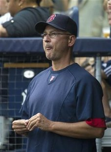 Boston Red Sox Terry Francona reacts as he watches team give up six runs to New York Yankees in New York